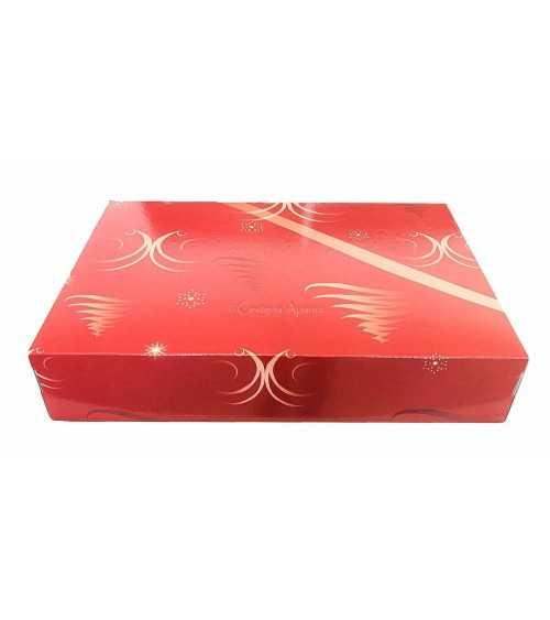Caja cartón para lotes navideños 5 botellas roja