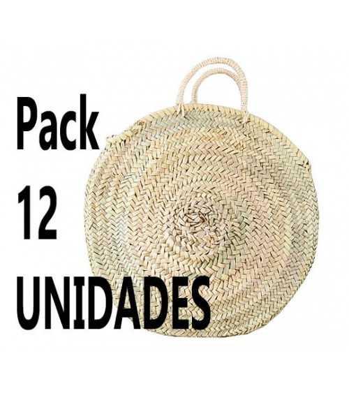 Pack 12 unidades Capazo de palma redondo