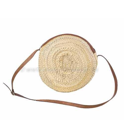 Bolso redondo de palma con asa de cuero